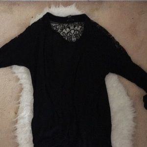 Forever 21 Sweaters - Forever 21 lace black long cardigan